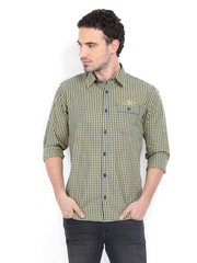 Derby Men Yellow & Blue Checked Slim Fit Casual Shirt
