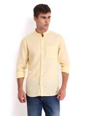 Derby Men White & Yellow Striped Linen Blend Slim Fit Casual Shirt