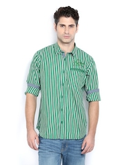 Derby Men Green & White Striped Slim Fit Casual Shirt
