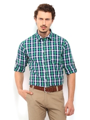 Derby Men Blue and Green Checked Slim Fit Casual Shirt