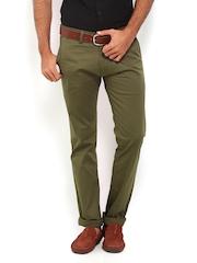 Derby Men Olive Green Slim Fit Trousers