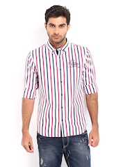 Derby Men White & Pink Striped Slim Fit Casual Shirt
