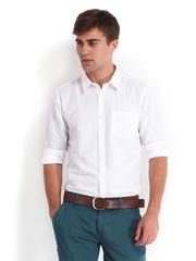 Derby Men White Linen Blend Slim Fit Casual Shirt