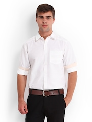 Derby Men White Slim Fit Casual Shirt