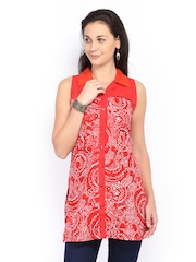 Desi Belle Women Red Printed Kurti