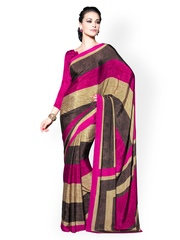 Dark Pink & Brown Chiffon Printed Saree Desi Look