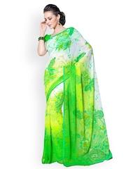 Desi Look Green & White Chiffon Printed Saree