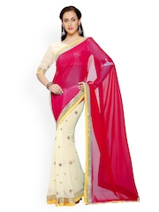 Designersareez Cream-Coloured & Red Georgette Partywear Saree