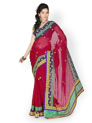 Designersareez Red Embroidered Chiffon Partywear Saree