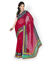Designersareez Red Embroidered Chiffon Partywear Saree