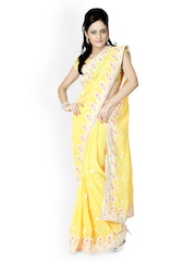 Designersareez Yellow Embroidered Faux Georgette Partywear Saree