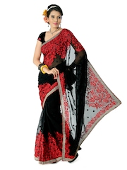Designersareez Black & Red Embroidered Georgette Partywear Saree