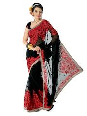 Designersareez Black & Red Embroidered Georgette Partywear Saree