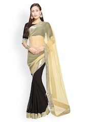Designersareez Black & Cream-Coloured Faux Georgette Partywear Saree