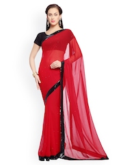 Designersareez Red Embroidered Faux Georgette Partywear Saree