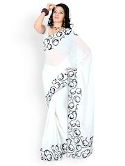 White Faux Georgette Partywear Saree Designersareez
