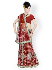 Maroon Embroidered Net One-Minute Saree Designersareez