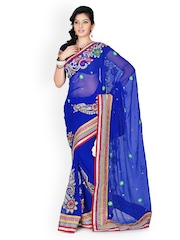 Designersareez Royal Blue Embroidered Chiffon Partywear Saree
