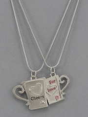 Diovanni Silver Cheers for Love Pair of Pendants With Chains