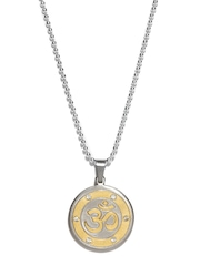 Diovanni Silver-Toned & Gold-Plated Pendant with Chain