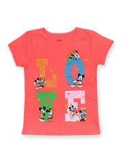 Disney Girls Coral Pink Printed T-shirt