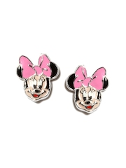Disney Girls Rhodium Plated Micron Silver Stud Earrings