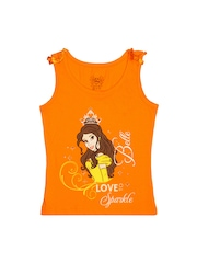 Disney Girls Orange Printed T-shirt