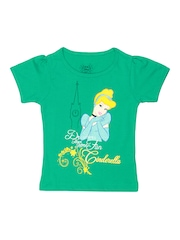 Disney Girls Green Printed T-shirt