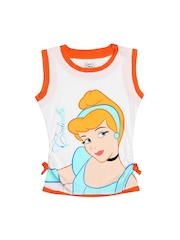 Disney Girls White & Orange Printed T-shirt