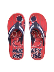 Disney Men Navy Blue & Red Flip Flops