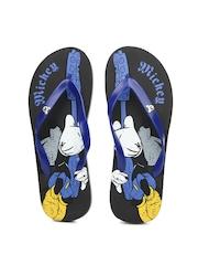Disney Men Navy & Black Printed Flip Flops