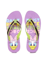 Disney Women Purple & Green Flip Flops
