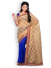 Diva Fashion Beige & Blue Half & Half Chiffon Fashion Saree