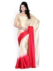 Diva Fashion Beige & Red Printed Synthetic Fashion Sari
