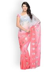 Diva Fashion Grey & Pink Printed Georgette Fashion Saree