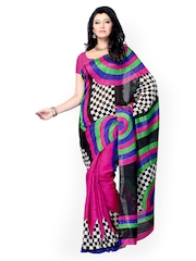Multicoloured Printed Raw Silk Fashion Saree Diva Fashion