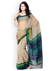 Diva Fashion Beige Art Silk Printed Fashion Saree