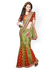 Green Embroidered One Minute Lehenga Saree Dlines