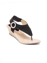 Do Bhai Women Black Sandals
