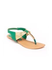 Do Bhai Women Green Sandals