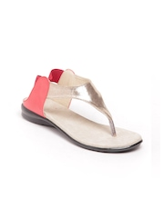 Do Bhai Women Gold Toned & Red Sandals
