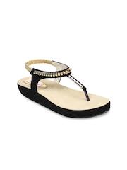 Do Bhai Women Black Sandals