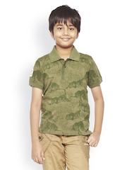Do u speak green Boys Olive Green Printed Polo T-shirt