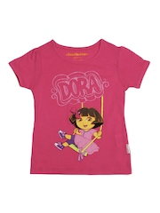 Kids Ville Girls Pink Dora Printed T-Shirt
