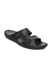 Dr. Scholl Men Black Leather Sandals