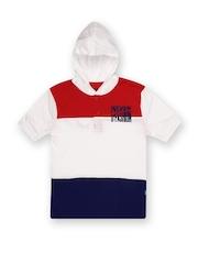 Boys White & Navy Hooded T-Shirt Dreamszone