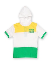 Boys White & Green Hooded T-Shirt Dreamszone