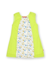 Dreamszone Girls Fluorescent Green & White A-Line Dress