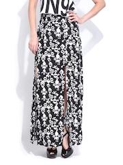 DressBerry Black & White Printed Maxi Skirt
