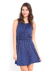 DressBerry Blue Polka Dot Print Flare Berry Dress